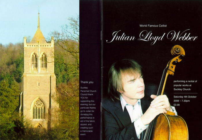 The programme for Julian Lloyd Webber's concert in Suckley on 4 October 2008