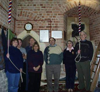 Suckley Tower bellringers on 7 February 2001. Photo (c) 2001 Keith Bramich